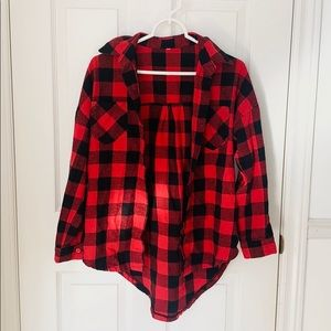 Red & Black Plaid Flannel Button Down Top